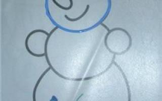 Роспись витражными красками. Витраж «Снеговик». Мастер класс с пошаговым фото
