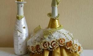 Свадебные бутылки шампанского. Декорирование.