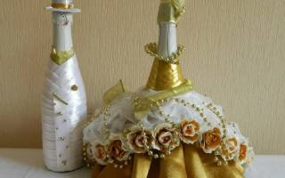 Украшения бутылок шампанского на свадьбу. Подробный мастер класс