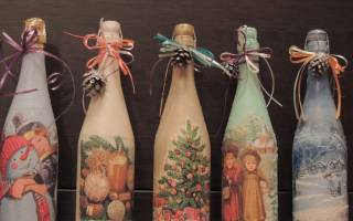 Декупаж бутылки для коньяка к Новому году.