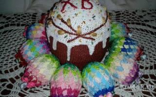 Вязание крючком. Пасхальный кулич с яйцами.