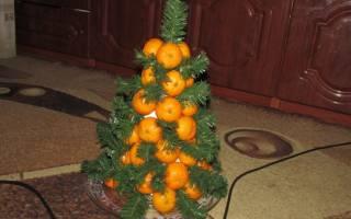 Новогодняя елка с мандаринами для детей. Мастер класс