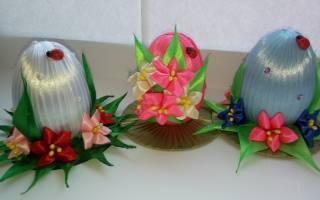 Пасхальное яйцо в технике канзаши с вербой и цветами нарциссами.