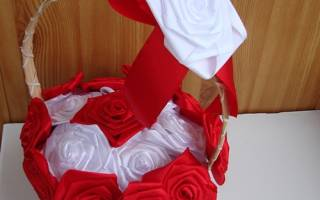 Корзина с черно-белыми розами из лент.