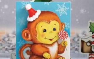 Новогодняя открытка «Обезьянка». Мастер-класс