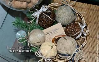 Кофейный шар на новогоднюю елочку.