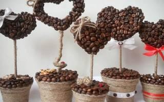 Кофейное дерево счастья из кофейных зерен и искусственных цветов.