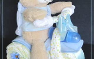 Поделки из памперсов — подарок новорожденному