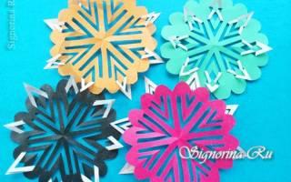 Киригами. Резная корзинка-снежинка из бумаги.