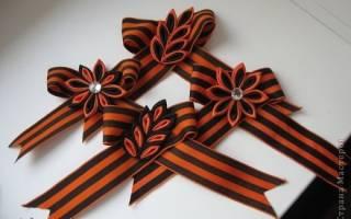 Георгиевская лента канзаши с цветком нарциссом. Мастер-класс пошагово с фото