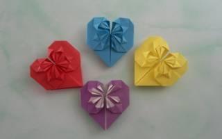 Сердце из бумаги в технике оригами.