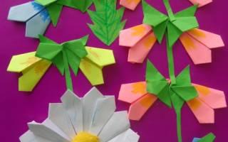 Оригами мастер класс. Букет из 5 цветов в вазе