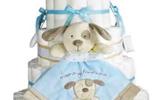 Подарок новорожденному своими руками. Торт из памперсов. Мастер класс
