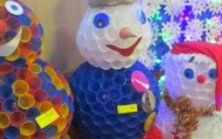 Снеговик из пластиковых стаканчиков: фото, идеи и мастер-классы