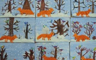 Рисунок с элементами аппликации «Зима в лесу». Мастер класс с пошаговым фото
