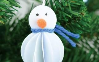 Новогодние поделки. Снеговик из бумаги за 30 минут. Мастер класс с пошаговым фото