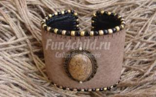 Кожаный браслет своими руками с натуральной яшмой.