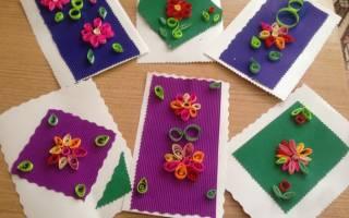 Открытка с цветами в технике квиллинг.