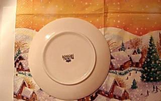 Прямой декупаж тарелки. Зимушка-зима.
