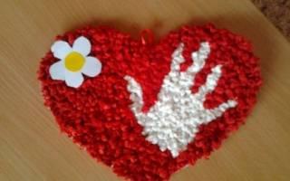 Аппликация из салфеток для мамы. Тебе моё сердце.