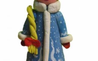 Новогодняя композиция из соленого теста. Снегурочка, Дед Мороз и снеговик