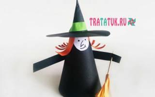 Ведьма оригами – поделка к Хэллоуину. Поашговый