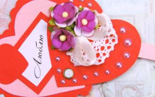 Валентинка из сердечек своими руками.