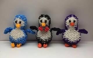 Пингвин из резинок на вилках.