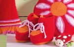 Детские пинетки на шнурках. Спицами.